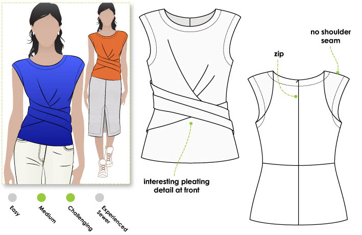 Madeleine Ponte Top Sewing Pattern By Style Arc - Asymmetrical pleat front peplum top