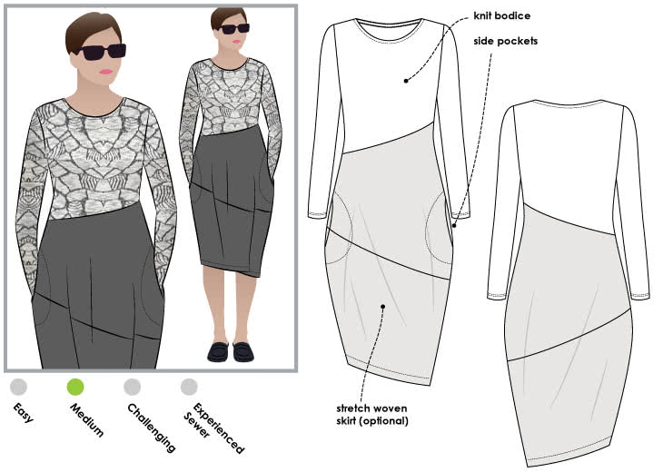 Maisie Designer Dress Sewing Pattern By Style Arc - Designer dress in a knit and stretch woven combination