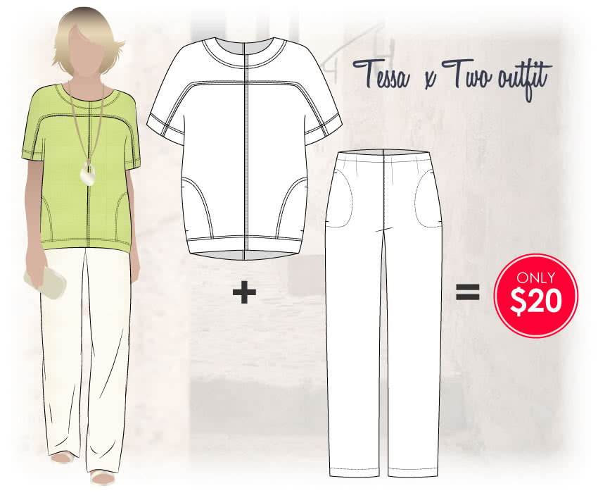 Tessa X Two Sewing Pattern Bundle By Style Arc - Casually stylish two piece pant and top set