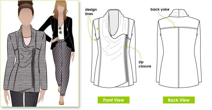 Marie Jacket Sewing Pattern By Style Arc - Fashionable knit jacket with zip closure