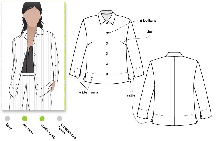 Marley Woven Shirt Sewing Pattern By Style Arc - Boxy shaped shirt featuring wide hems & ¾ sleeves