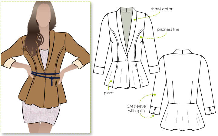 Marni Ponti Jacket Sewing Pattern By Style Arc - Peplum style knit jacket