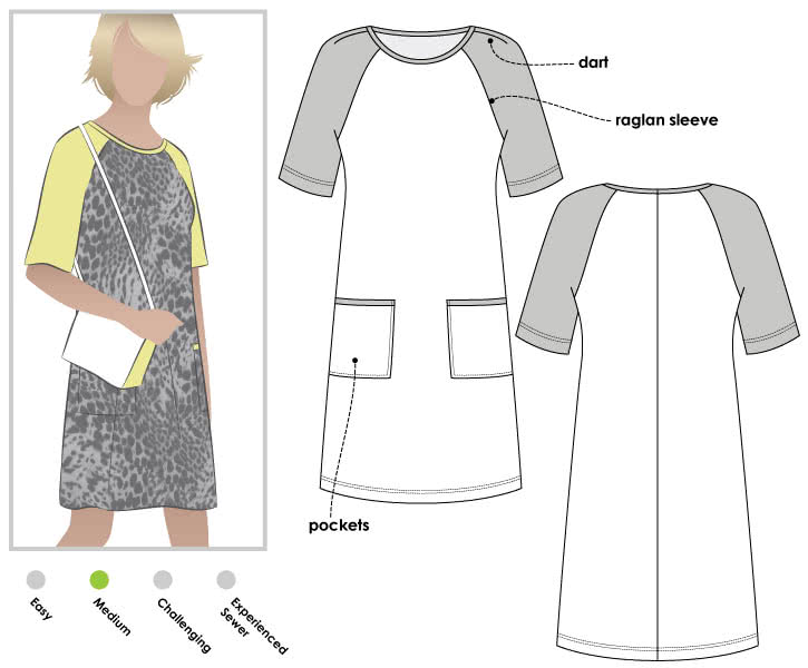 Mary Shift Dress Sewing Pattern By Style Arc - Raglan sleeved shift dress with patch pockets
