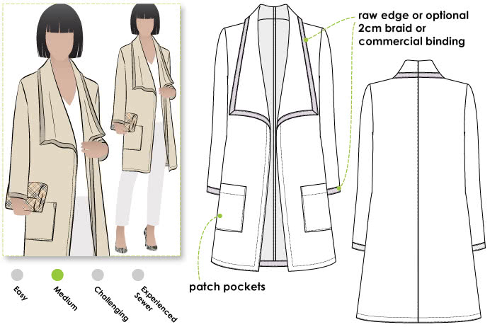 Mason Knit Jacket Sewing Pattern By Style Arc - Great ponte jacket with new fashionable collar