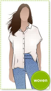 Maude Tunic Sewing Pattern By Style Arc - Clever shirt style tunic with extended shoulder line.