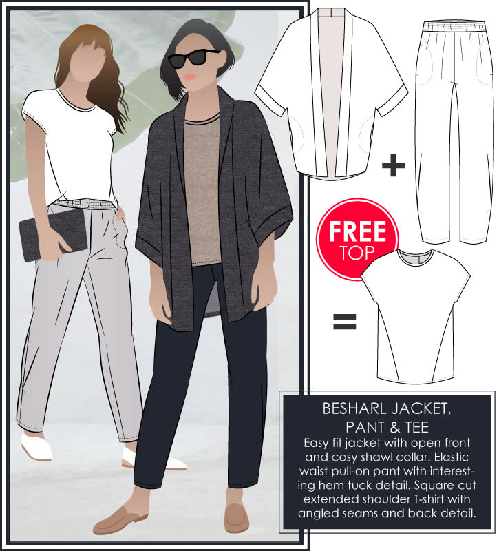 Besharl Jacket + Pant + Free Tee Sewing Pattern Bundle By Style Arc - Buy Besharl Jacket & Pant & get a FREE Besharl Tee.