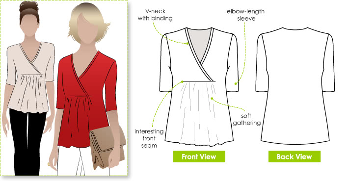 May Knit Top Sewing Pattern By Style Arc - Wrap cross-over top with gathers under the bust