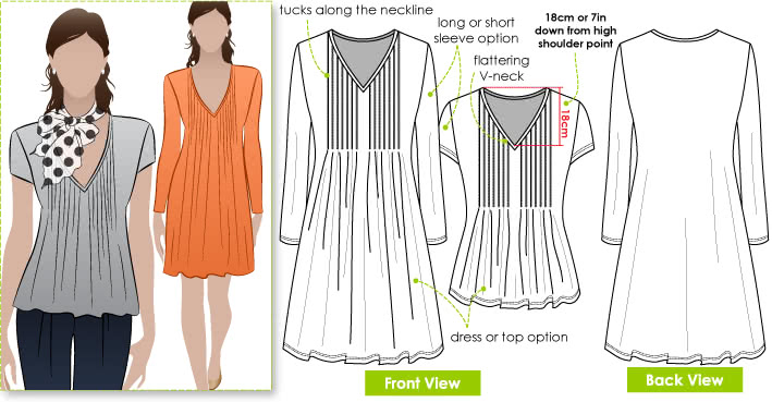 Milly Knit Dress / Top Sewing Pattern By Style Arc - Tuck front Dress/Top with long or short sleeves