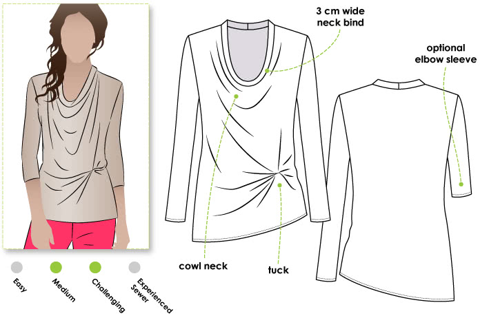Molly Knit Top Sewing Pattern By Style Arc - New twist on the popular drape neck top