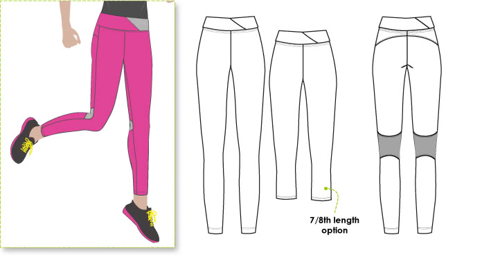 Monica Pant Sewing Pattern By Style Arc - Stretch sports pant with back leg and detail and gusset