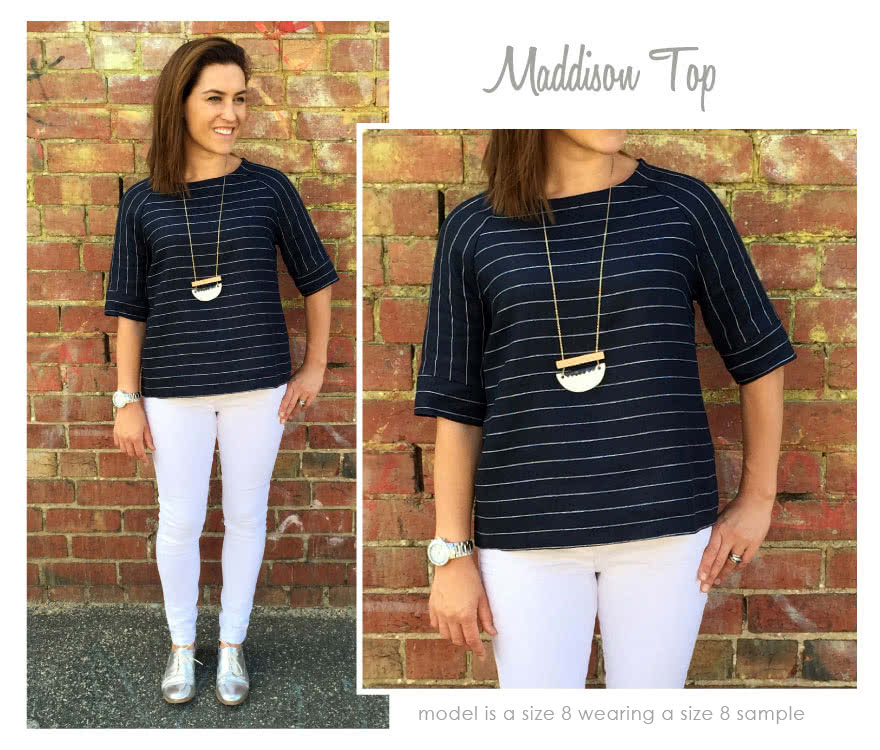 Maddison Top Sewing Pattern By Style Arc - Versatile top featuring a slight trapeze shaped body and elbow length raglan sleeve