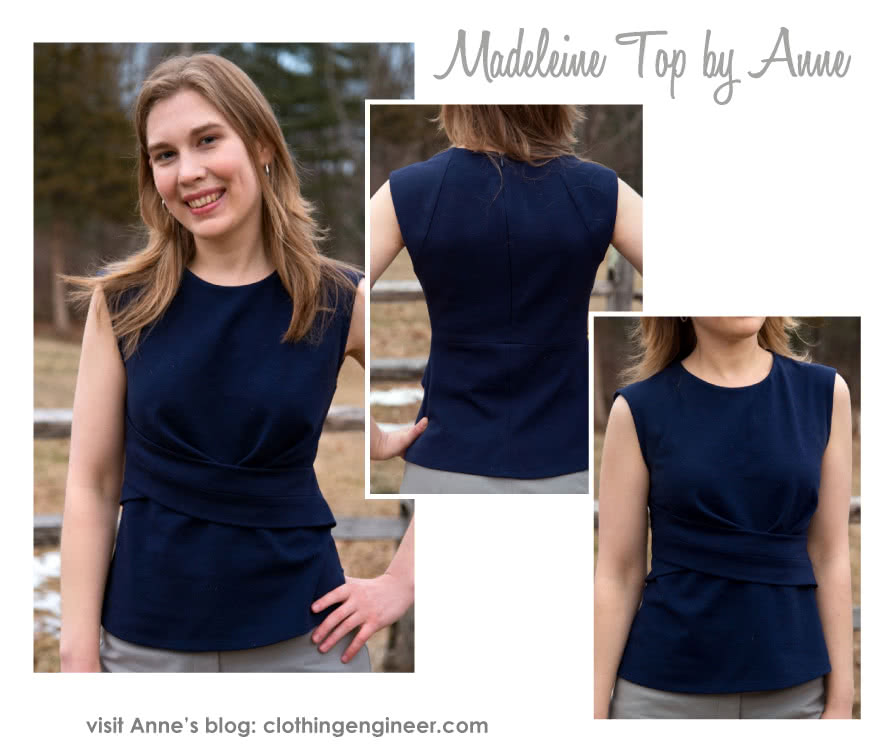 Madeleine Ponte Top Sewing Pattern By Anne And Style Arc - Asymmetrical pleat front peplum top