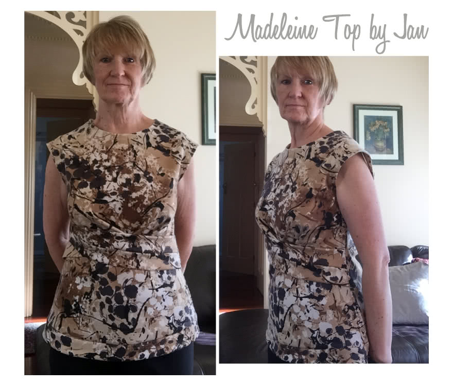 Madeleine Ponte Top Sewing Pattern By Jan And Style Arc - Asymmetrical pleat front peplum top