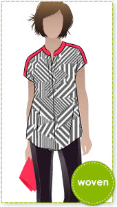 "Maggie Shirt Sewing Pattern By Style Arc - Sophisticate shirt with ""Magyar"" sleeve"