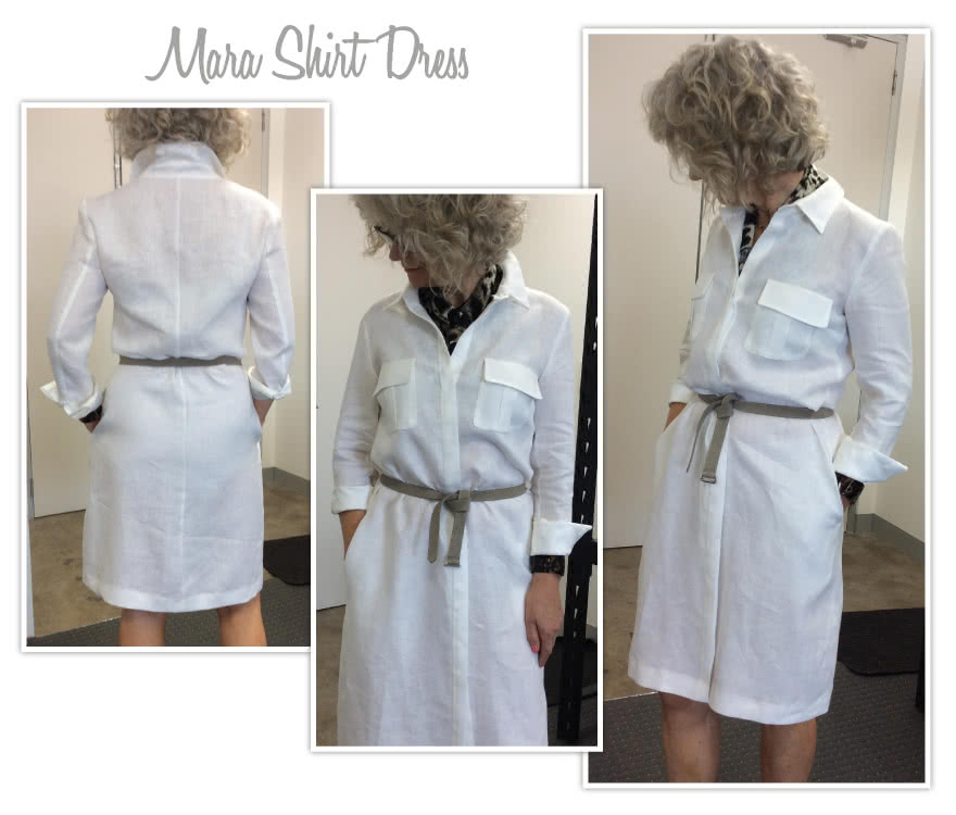 Mara Shirt Dress Sewing Pattern By Style Arc - The classic shirt dress featuring a fly front, pleat pockets and two piece sleeve