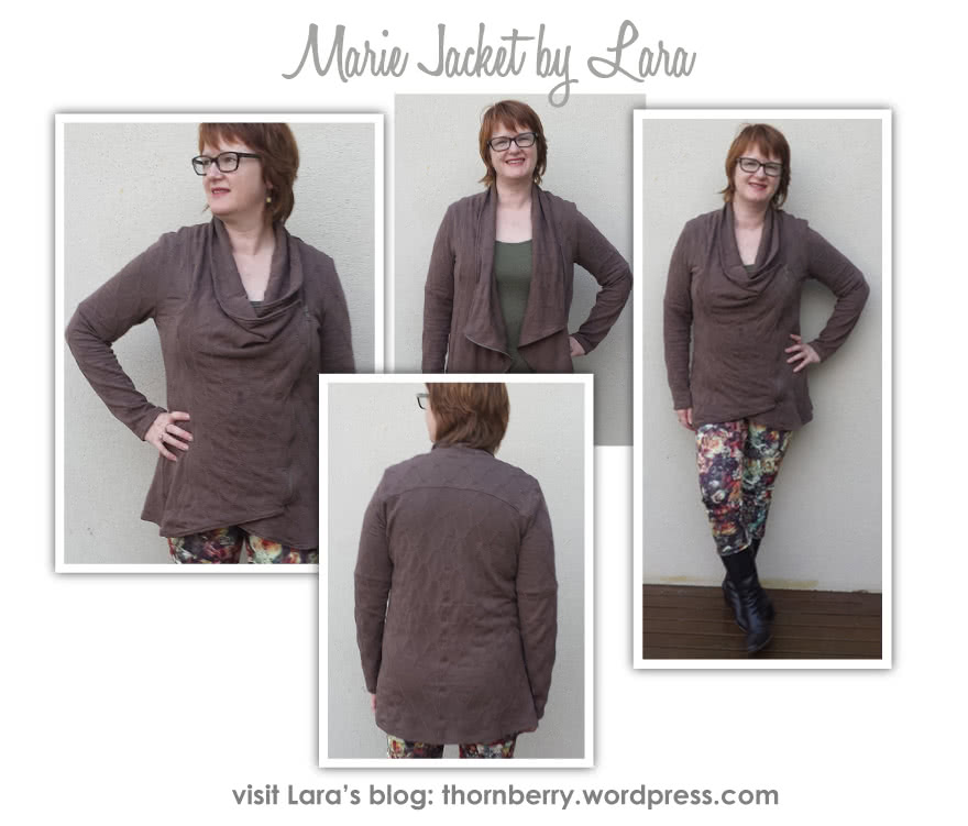 Marie Jacket Sewing Pattern By Lara And Style Arc - Fashionable knit jacket with zip closure