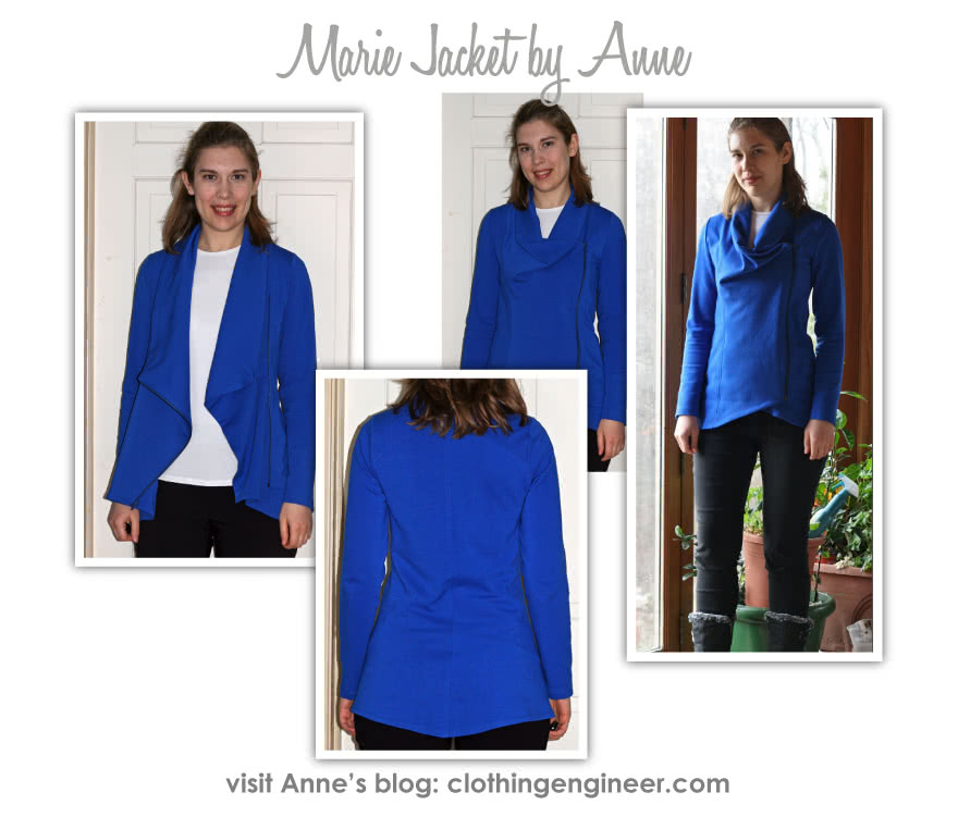 Marie Jacket Sewing Pattern By Anne And Style Arc - Fashionable knit jacket with zip closure