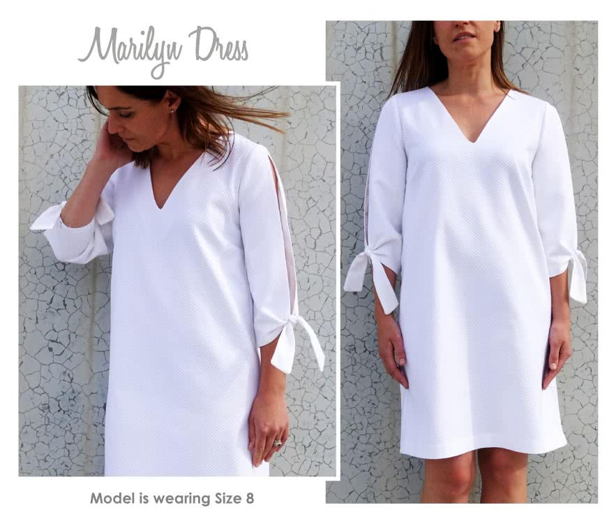 Marilyn Dress Sewing Pattern By Style Arc - Elegant but simple Split sleeve dress