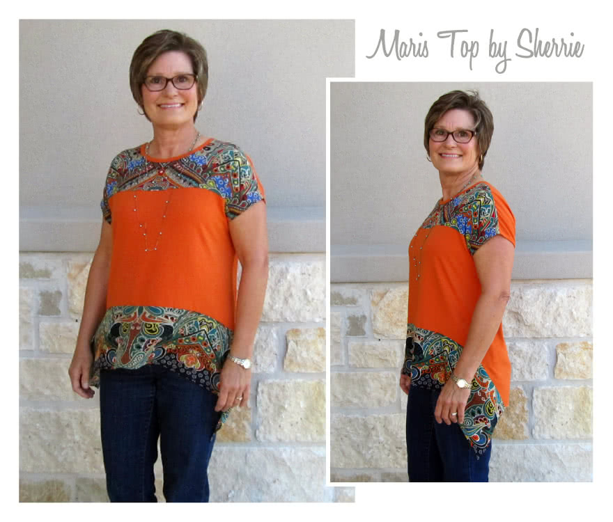 Maris Top Sewing Pattern By Sherrie And Style Arc - Pull on top with interesting hem line and front yoke