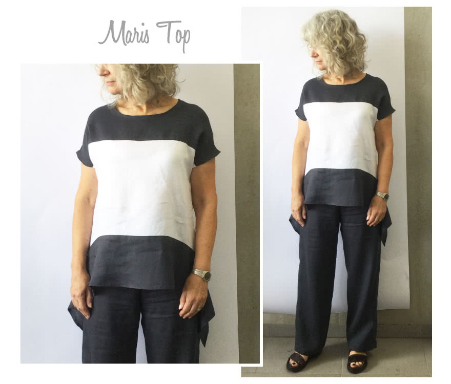 Maris Top Sewing Pattern By Style Arc - Pull on top with interesting hem line and front yoke