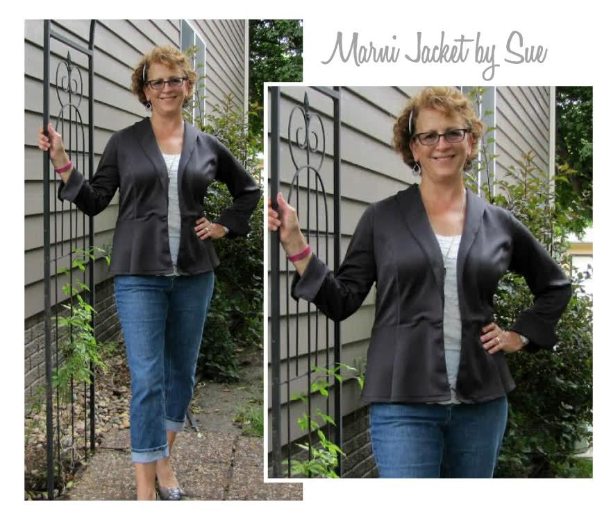Marni Ponti Jacket Sewing Pattern By Sue And Style Arc - Peplum style knit jacket