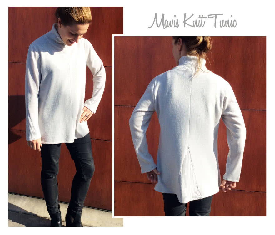 Mavis Knit Tunic Sewing Pattern By Style Arc - Long line knit tunic featuring a turtle neck, contrast inserted panels and slightly dipped back
