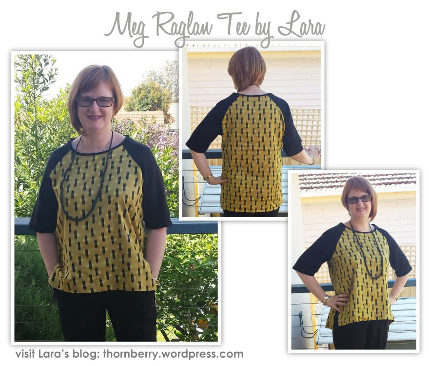 Meg Raglan Tee Sewing Pattern By Lara And Style Arc - Relaxed raglan sleeve woven tee with a high low hem