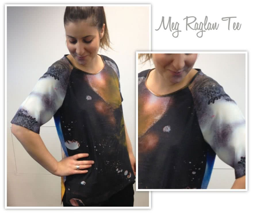 Meg Raglan Tee Sewing Pattern By Style Arc - Relaxed raglan sleeve woven tee with a high low hem
