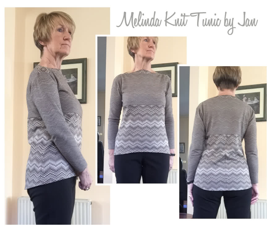 Melinda Knit Tunic Sewing Pattern By Jan And Style Arc - Boat neck tunic length top