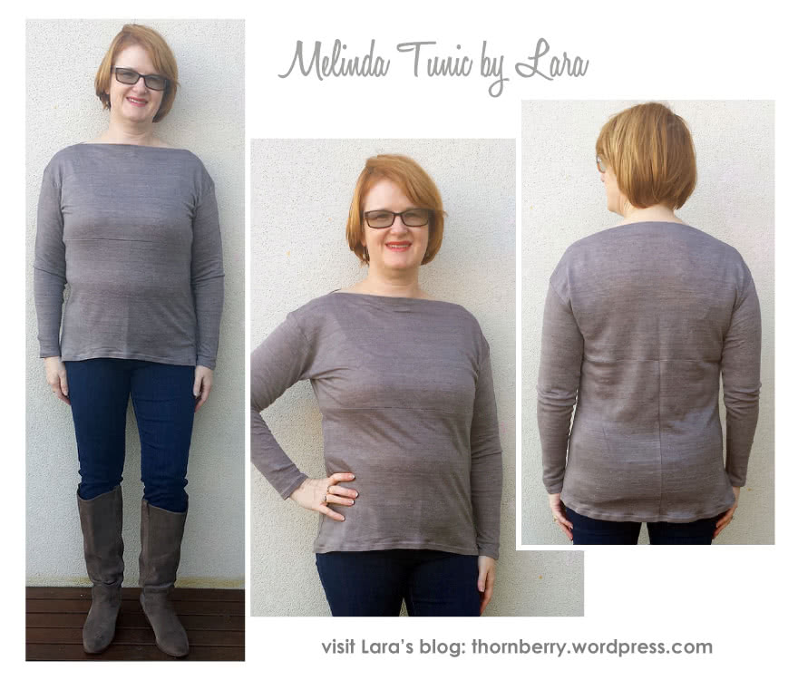 Melinda Knit Tunic Sewing Pattern By Lara And Style Arc - Boat neck tunic length top