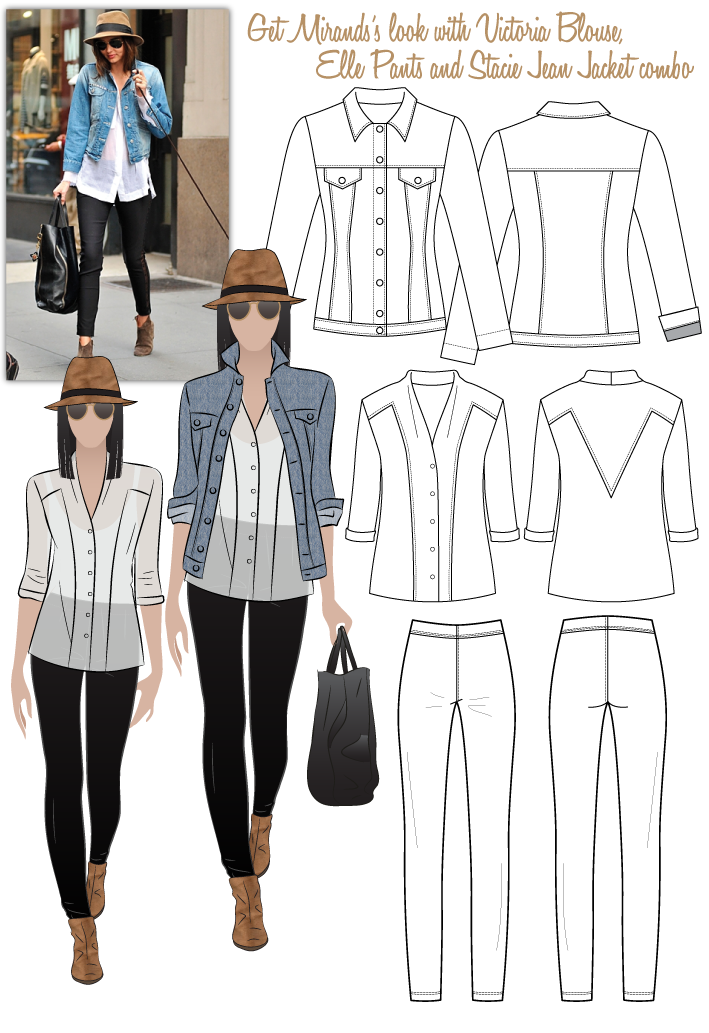 Miranda's Look No.1 Sewing Pattern Bundle By Style Arc - Miranda's Look 1 = Victoria Blouse, Elle Pant & Stacie Jean Jacket