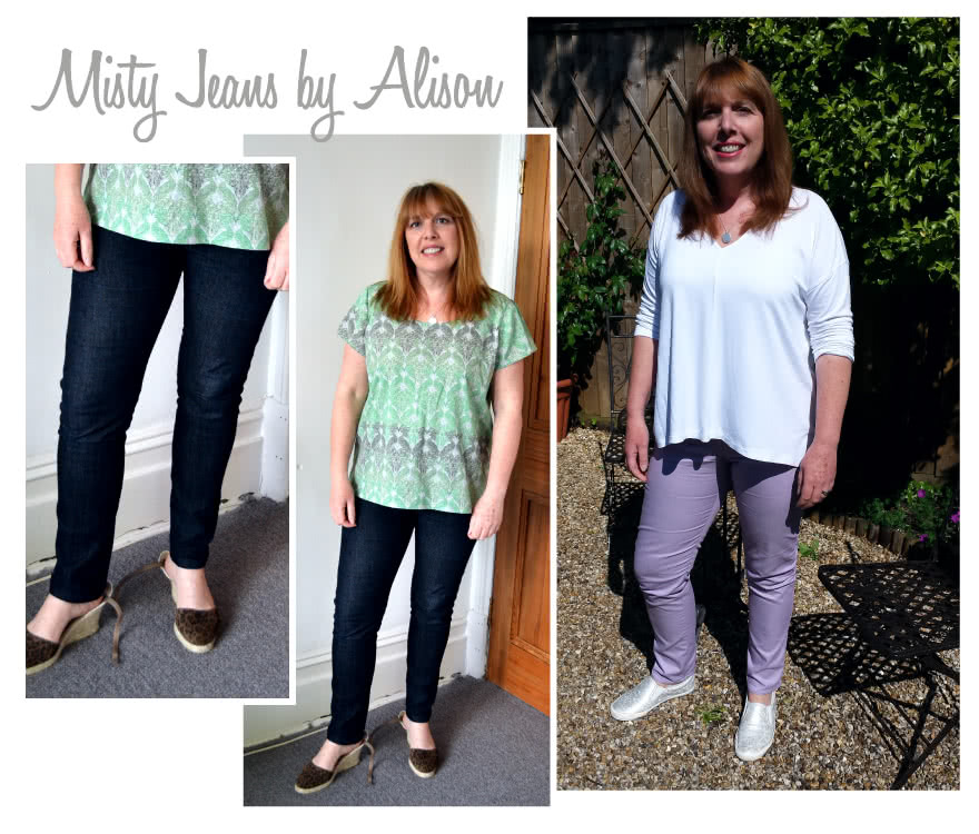 Misty Stretch Pull-On Jean Sewing Pattern By Alison And Style Arc - Stretch denim slim leg jean with an elastic waist for comfort