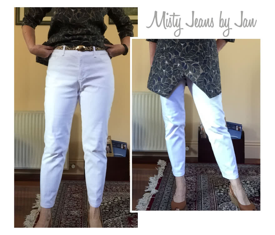 Misty Stretch Pull-On Jean Sewing Pattern By Jan And Style Arc - Stretch denim slim leg jean with an elastic waist for comfort