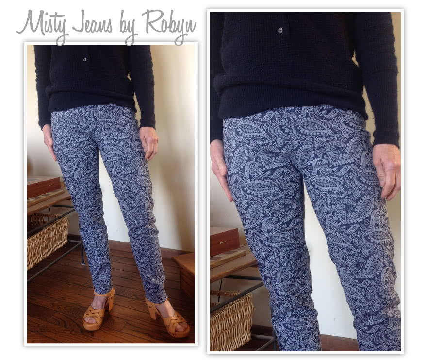 Misty Stretch Pull-On Jean Sewing Pattern By Robyn And Style Arc - Stretch denim slim leg jean with an elastic waist for comfort