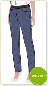 Misty Stretch Pull-On Jean Sewing Pattern By Style Arc - Stretch denim slim leg jean with an elastic waist for comfort