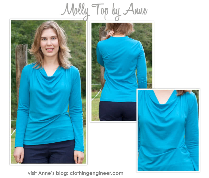 Molly Knit Top Sewing Pattern By Anne And Style Arc - New twist on the popular drape neck top