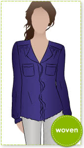 Nancy Shirt Sewing Pattern By Style Arc - Fashionable shirt with the stitched front feature