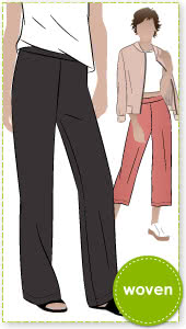 Natasha Woven Pant Sewing Pattern By Style Arc - The new shaped wider leg pant in three lengths.
