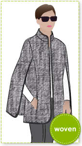 Nell Cape Sewing Pattern By Style Arc - Fashionable cape with bound edges and inseam pockets