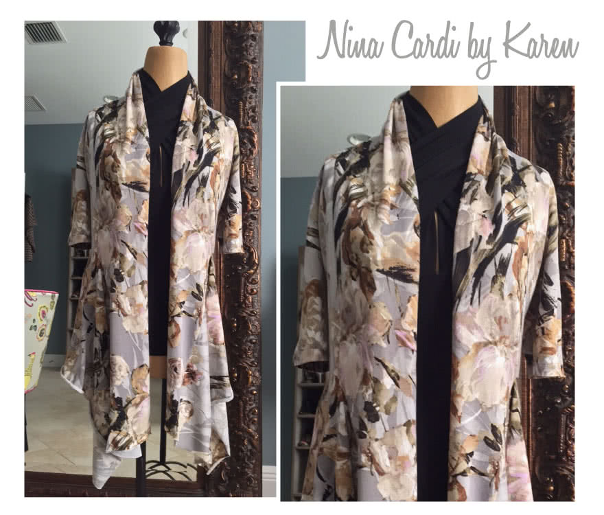 Nina Cardigan Sewing Pattern By Karen And Style Arc - Fabulous waterfall front cardigan