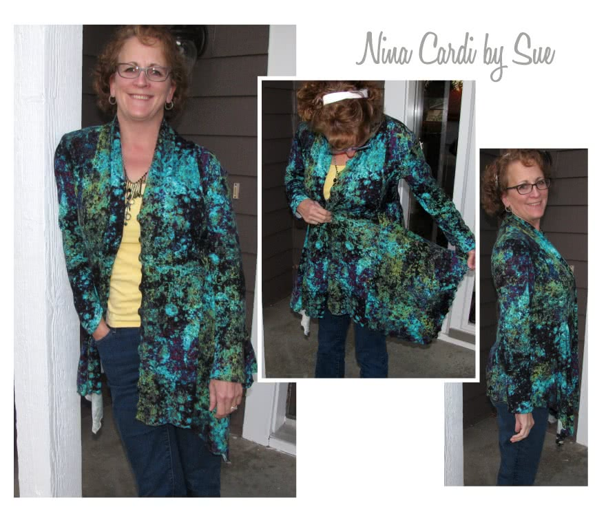 Nina Cardigan Sewing Pattern By Sue And Style Arc - Fabulous waterfall front cardigan