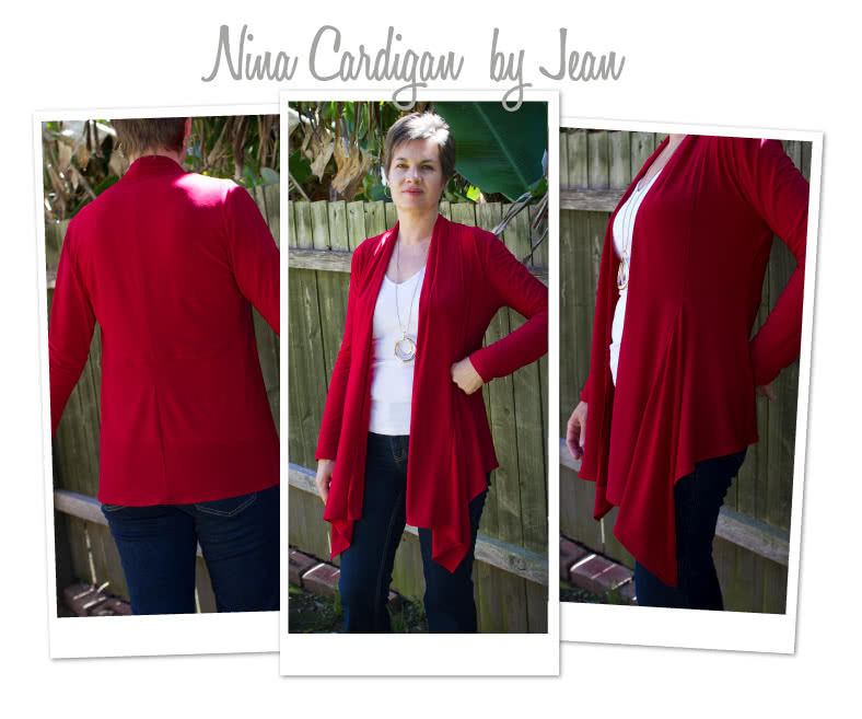 Nina Cardigan Sewing Pattern By Jean And Style Arc - Fabulous waterfall front cardigan