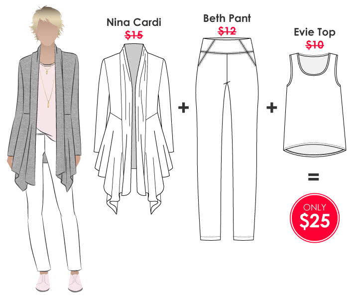 Nina + Evie + Beth Outfit Sewing Pattern Bundle By Style Arc - Nina Cardi + Evie Top + Beth Pant