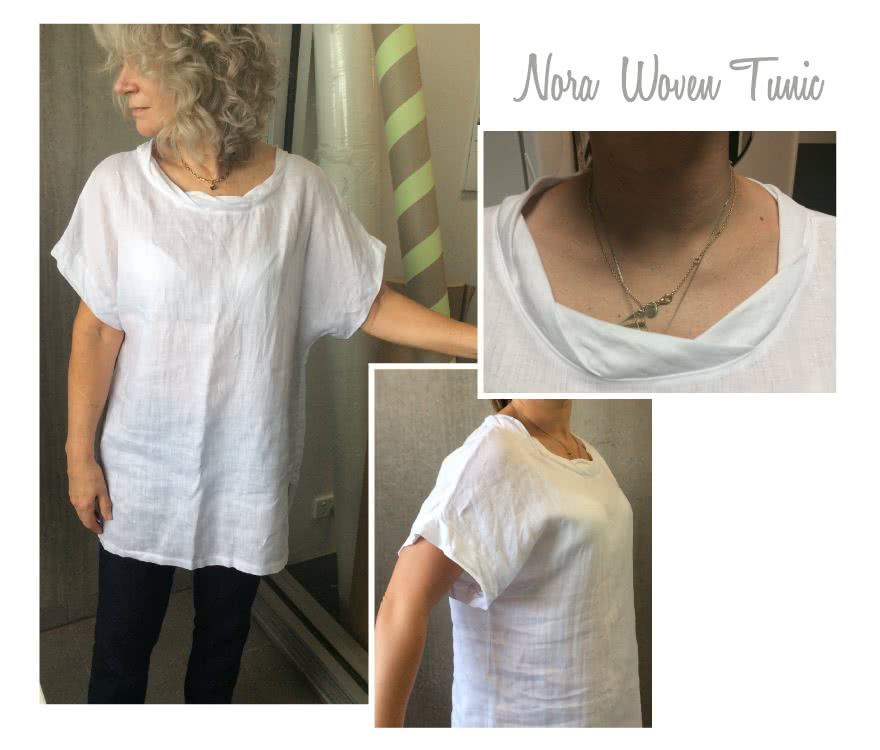 Nora Woven Tunic / Dress Sewing Pattern By Style Arc - Tunic in two lengths featuring a twisted neck and extended shoulder line