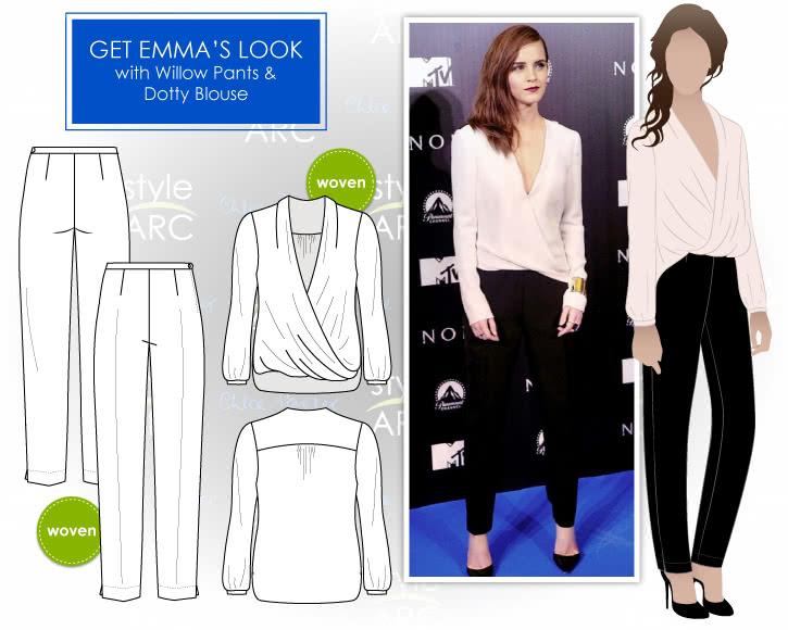 Emma Watson Look Sewing Pattern Bundle By Style Arc - Emma Watson formal look = Willow Pants + Dotty Blouse