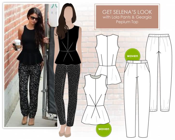 Selena Gomez Look Sewing Pattern Bundle By Style Arc - Selena Gomez day-to-night look = Lola Pants + Georgia Peplum Top