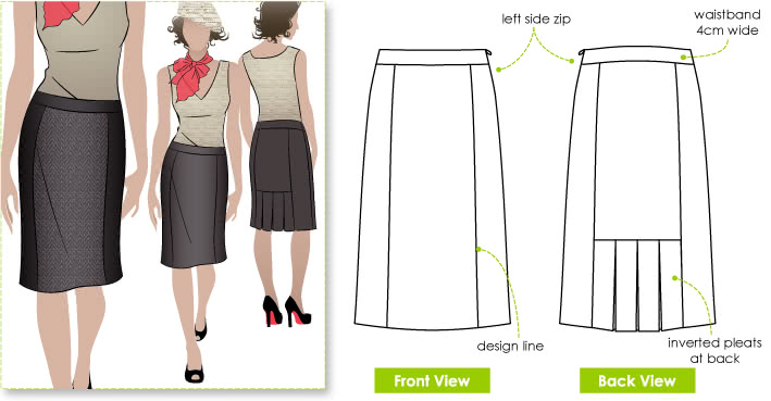 Odette Skirt Sewing Pattern By Style Arc - Slim skirt with back pleat treatment