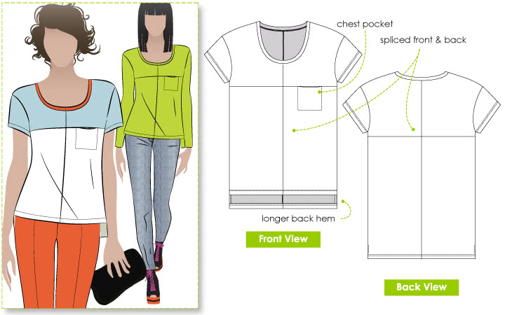 Olive Spliced Tee Sewing Pattern By Style Arc - New look square spliced T-Top