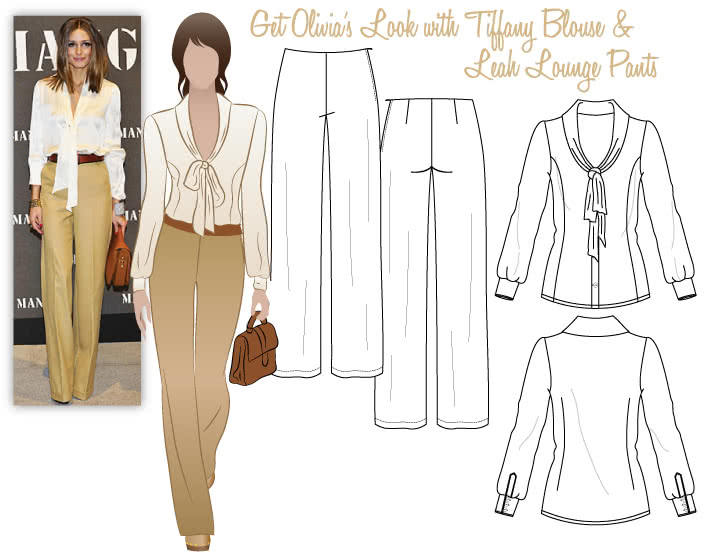 Olivia's Look No.1 Sewing Pattern Bundle By Style Arc - Olivia's Look = Tiffany Blouse & Leah Lounge Pants