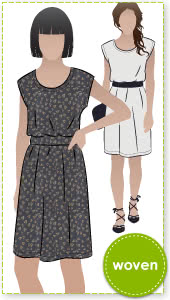 Olivia Dress Sewing Pattern By Style Arc - Shift dress with elastic waist and extended shoulder line